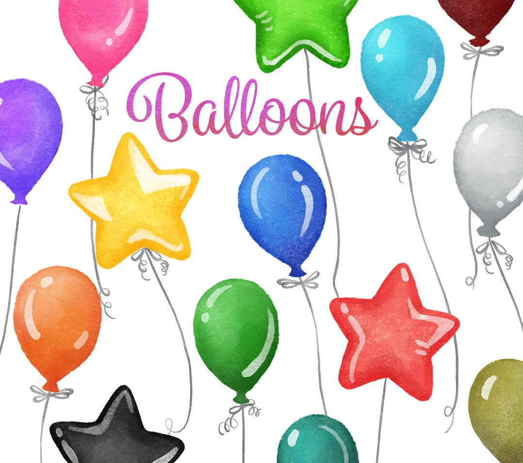 balloon clipart instant digital download party balloons birthday rh etsystudio com pictures of party balloons clipart animated party balloons clipart