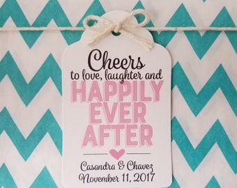 Wedding Gift Tags - Love Laughter Happily Ever After - Bridal Shower Favor Tags - Customizable Personalized - White (WT1809)