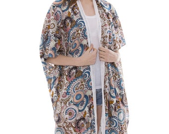 "Women's Floral Kimono Cardigan Lightweight Beachwear Swimwear Cover Ups Sheer Blouse Loose Tops W/ White Hems L40"" (6859)"
