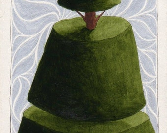 Original ACEO Just Plain Topiary