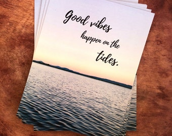 Good Vibes Postcard, ocean post card, sunset scene