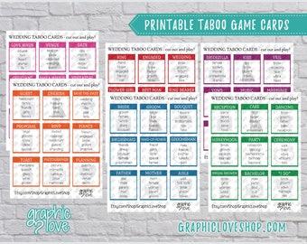 Printable Wedding, Engagement, Bridal Shower Taboo Game 54 Cards   PDF File, Instant Download, DIY, File NOT Editable