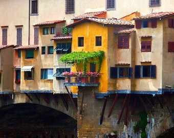 Travel Photography- Florence, Italy's Ponte Vecchio in Bloom- Italian, Landscape, Nature, European, Fine Art Photography