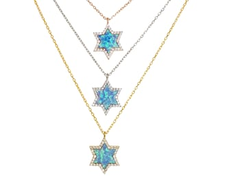 Star of David Necklace, With the Beautiful Blue Opal For Good Luck and Protection, Exclusively My Own Unique Design