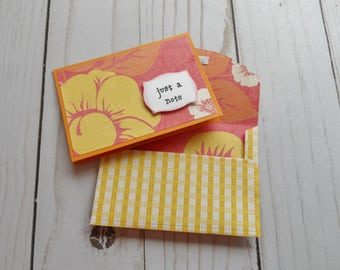 Mini Note Cards -- Love Notes -- Lunch Box Notes -- Card and Envelope Set -- Gift Card Holder -- Just A Note