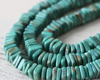 6mm Turquoise Square Spacer Disk Beads - Natural Turquoise - 6mm Gemstone Beads - Jewelry Making Supply - 30 Pieces
