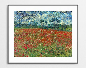 Vincent Van Gogh - Field With Poppies - Poppy Field  - Van Gogh Fine Art Reproduction - Wall Art - Famous Painting - Red Decor - Floral Art