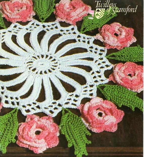 Vintage Crochet Rose Doily Crochet Pattern Pdf Crochet Rose