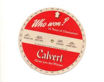 Sports Wheel, Calvert Whiskey Advert, Baseball, Football, Bowling, Horse Racing, etc