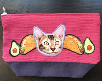 Tacos and Cats Zippered Clutch Makeup Bag Pencil Case Accessories Bag Toiletries Bag Zippered Pouch Wallet Change Purse
