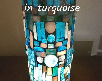 Lamps: table lamp, Stained Glass,  Mosaic, glass lamp, custom-made, accent light, lamp, plug in light, stain glass,