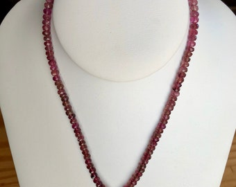Deep Pink Tourmaline Necklace and Earring Set with Silver Bali beads 16 inches long