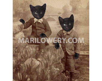 Black Cat Art, Twin Brothers, Cats in Clothes,  8 x 10 Print, Anthropomorphic, Victorian Animals, Halloween Decor, frighten