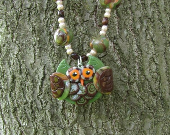 SALE Item Clearance Earth Tone OWL Beaded Necklace - Hand Sculpted Polymer Clay Women's Jewelry