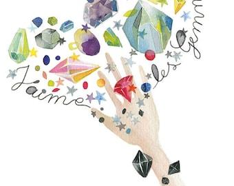 Mineral art, Watercolor gemstones poster, Watercolor gem, Gemstones lover illustration, Gemstones art, Cute illustration, Rocks illustration