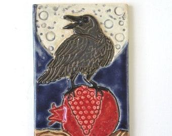 Raven Pomegranate Arts and Crafts Handmade Decorative 4x6 MUD Pi Tile