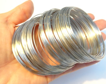 200 Loops Memory Wire 65mm-70mm Silver Tone - FD1342