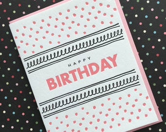 Pink Dot Birthday - letterpress card