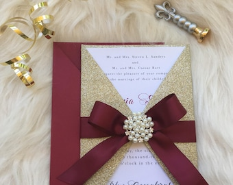 Burgundy and Gold Invitation Suite // Holiday Wedding Invitation // Winter Wedding Invitation