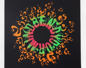 original uv spray painted stencil art // limited edition // psychedelic // BEND YOUR MIND