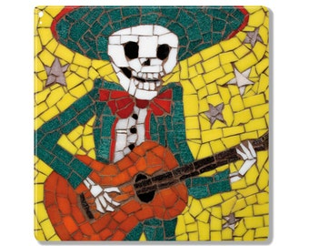 Coaster / Ceramic Tile- Alberto is Dead - Mexican Skeleton Playing the Guitar
