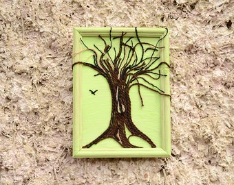 Tree of life wall art, String wall art, String art, Rustic wall art, Rustic wall decor, String tree of life wall art.