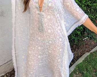 White, Beach kaftan, long beach coverup, Beach Cover ups, swimsuit Coverups, wedding gift,Handmade,tunic,Honeymoon, Vacation, cruise, kimono