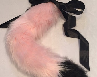 Luxury Pink and Black Pastel Cat Kitten Play BDSM Tail Faux Fur 25 Inch