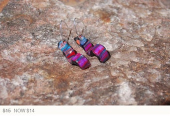 Sale -  Contemporary Polymer Clay Earrings, Dangle Earrings, Jewel Tones Polymer Clay, Artisan Earrings, Statement Jewelry
