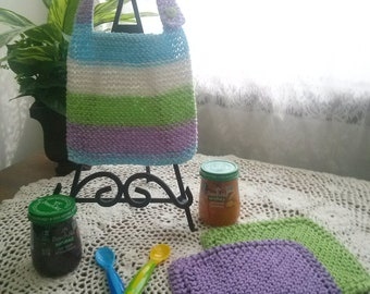 Happy Easter Hand Knit Baby Bib and Washcloth Set