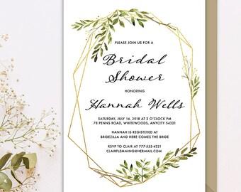 Minimalist Bridal Shower Invitation, Modern Greenery Gold and Geometric Terrarium Printable Bridal Shower Invitation