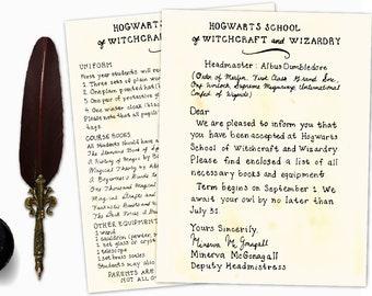 Hogwarts Acceptance Letter, Printable, College Student Gift, Harry Potter Gift,  Harry Potter Print, Digital Download, Hogwarts Letter Set