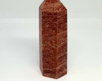 Red Granite wand, crystal wand, crystal point, crystal healing, gemstones, reiki, rainbow, pagan, wicca,