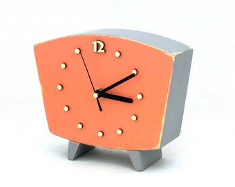 Table clock, Wood Clock Orange Black, Desk Wooden clock,  Vintage style, Gray Orange decor, Spring trends, Pumpkin clock, Mothers day gift