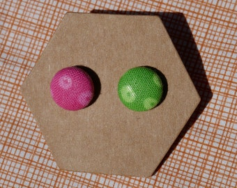 Pink & Green Fabric Earrings