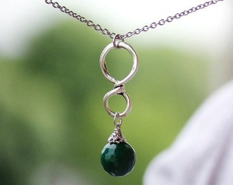 Jase Silver Necklace Green Jade Faceted Bead Necklace Jade Jewelry Silver Green Stone Necklace Boho Infinity Gemstone Healing Necklace