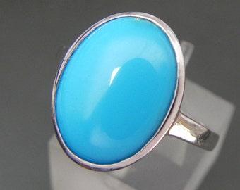 AAAA Sleeping Beauty Turquoise from Arizona   16x12mm  8 Carats   18K white gold ring    MMM