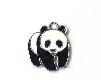 1-5 Black & White Panda Bear Charms. Enameled colored front with smooth back. Nice quality.