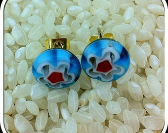 Millefiori Glass Stud Earrings .. Gold Tone Posts.. 10mm .. Light Blue with a White & Red Flower