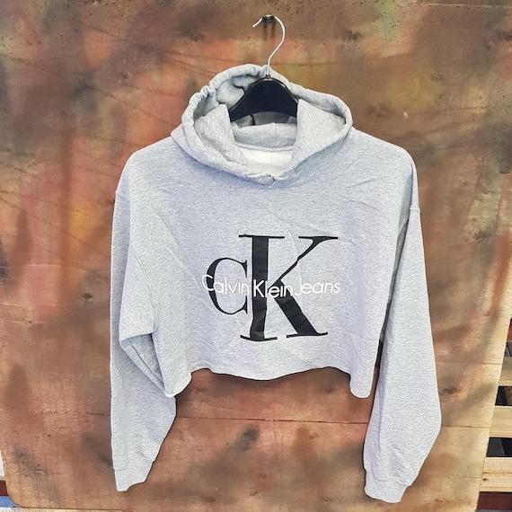 Sassy customised CK crop sweatshirt jumper top urban swag festival style one size l2sDeG