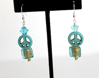 Peace Sign Earrings, Sterling and Turquoise Peace Sign Earrings with Lampwork Glass Beads
