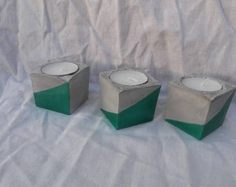 Pearly green concrete graphic cube candle holder