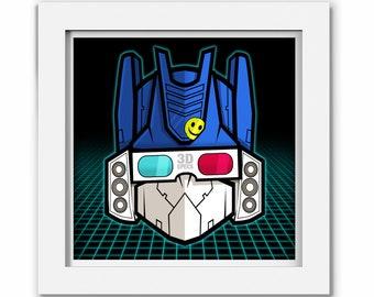 Transformers Soundwave 80s Print, Transformer Cartoon, Comic, Illustration, Transformer Geek Art Gift 1980s