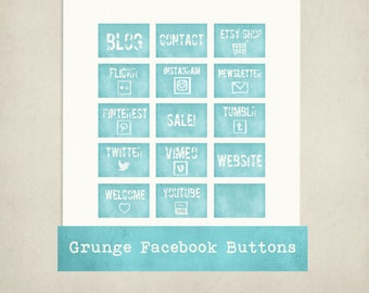GRUNGE FACEBOOK BUTTONS - Blue, Facebook Tabs, Social Media Icons for Facebook Business page
