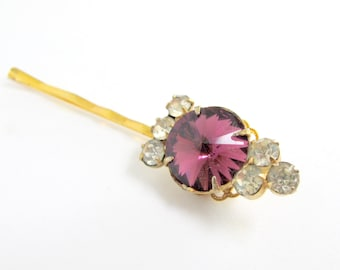 Regal Violet - Vintage Jewel Hair Pin with Swarovski Amethyst Rhinestone - Holiday, Bridal, Secret Santa