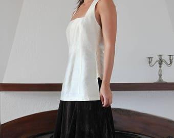 Vintage Mediterranean soft cream white silk taffeta long top,bustier.size s