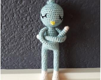 Ready to ship! Handmade pastel blue amigurumi Parrot doll.