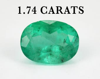 1.74ct Oval Emerald, 9 mm x 6.5 mm Oval Emerald, Colombian Emerald, Loose Emerald, Loose Gemstone, Green Gemstone, Natural Green Gemstone