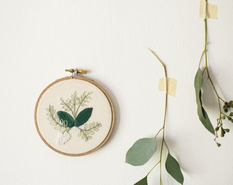 Green Floral Embroidery Hoop Art, Botanical Needlepoint, Feminine Decor, Gift for Mom, Gift for Sister, First Home Decor, Kitchen Wall Art