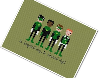 Green Lanterns of Sector 2814 - The *Original* Pixel People - PDF Cross Stitch Pattern - INSTANT DOWNLOAD